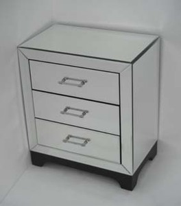 3 drawer bedside unit mainly mirrors for Mirrored drawer unit