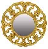 Round Gold Carved Mirror