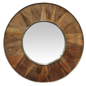Round wood pattern mirror 890mm dia mainly mirrors for Round wood mirror