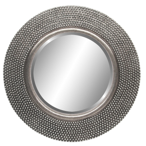 Silver Framed Mirrors: Round Silver Beaded Mirror 800mm dia