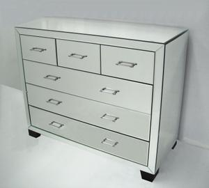 Mirrored Furniture: Six Drawer Mirror Cabinet