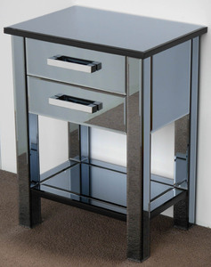 Mirrored Furniture: Two Drawer Tinted Mirror Cabinet