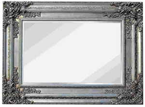 Silver Framed Mirrors: Wide Framed Ornate Silver Mirror (3 sizes)
