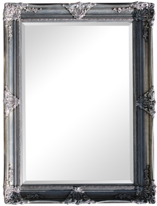 Silver Framed Mirrors: Ornate Antique Silver Mirror 1115x810mm