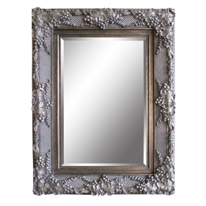Silver Framed Mirrors: Large Ornate Antique Silver Framed Mirror 2130x1145mm