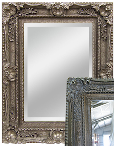 Silver Framed Mirrors: Large Ornate Antique Silver Framed Mirror 2160x1160mm