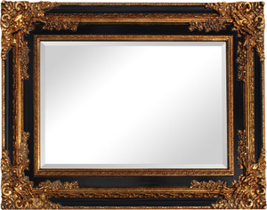 Gold Framed Mirrors: Gold/Black Ornate Mirror (2 sizes)