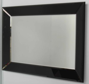 Mirrors With Mirror Frames: Black Mirror Framed Bevelled Mirror 1085x775mm