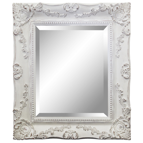Distressed White Ornate Mirror 625x725mm