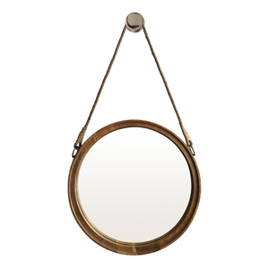 Wooden Framed Mirrors: Round Wood Frame With Rope 565mm Dia