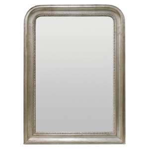 Silver Framed Mirrors: Silver Bead Round Topped Mirror 760x1060mm