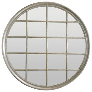 Silver Framed Mirrors: Large Round Silver Window Mirror 1200mm dia