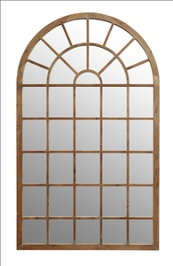 Wooden Framed Mirrors: Large Recycled Pine Arch Window Mirror 1200x2000mm