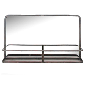 Metal Framed Mirrors: Metal Mirror With Shelf 800x460mm