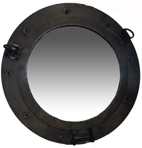 Metal Framed Mirrors: Round Metal Porthole Mirror 660mm dia