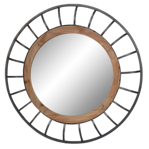 Metal Framed Mirrors: Round Wood/Metal Mirror 800mm dia