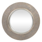 Round Antique Silver Beaded Mirror 800mm dia