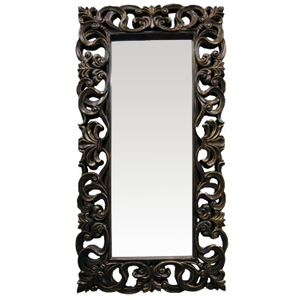 Traditional Dress Mirrors: Black Ornate Dress Mirror 880x1780mm