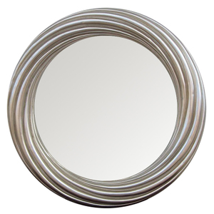 Silver Framed Mirrors: Round Silver Swirl 840mm dia