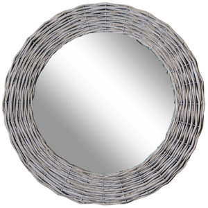Other Framed Mirrors: Round Grey rattan Mirror 630mm dia