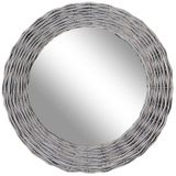 Round Grey rattan Mirror 630mm dia