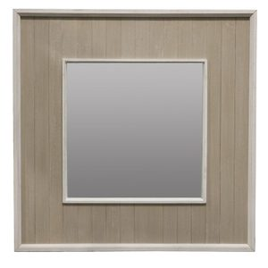Wooden Framed Mirrors: Grey/White Square Mirror (2 sizes)