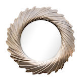Warm Silver Flared Round Mirror 995mm