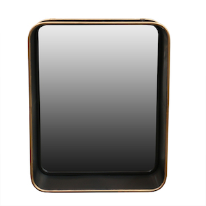Metal Framed Mirrors: Dark Brown/Gold Metal Mirror 400x500mm