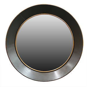 Metal Framed Mirrors: Grey/Gold Round Metal Mirror 770mm dia