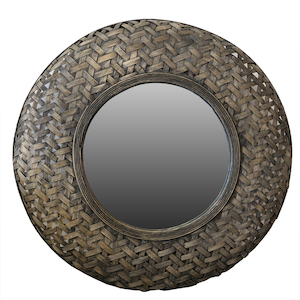 Wooden Framed Mirrors: Round Bamboo Weave Mirrir 700mm dia