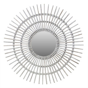 Other Framed Mirrors: Rattan White Wash Sun Mirror (two sizes)