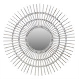 Rattan White Wash Sun Mirror (two sizes)
