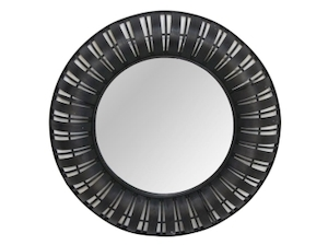 Other Framed Mirrors: Round Black Bamboo Mirror 1000mm dia