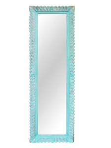 Contemporary Dress Mirrors: Wood Carved Turquoise Mirror 510x1750mm
