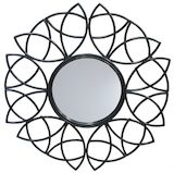 Black Metal Floral Mirror 1000mm dia