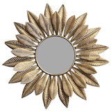 Round Leaf Gold Mirror 660mm
