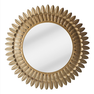 Gold Framed Mirrors: Feather Leaf Mirror 700mm
